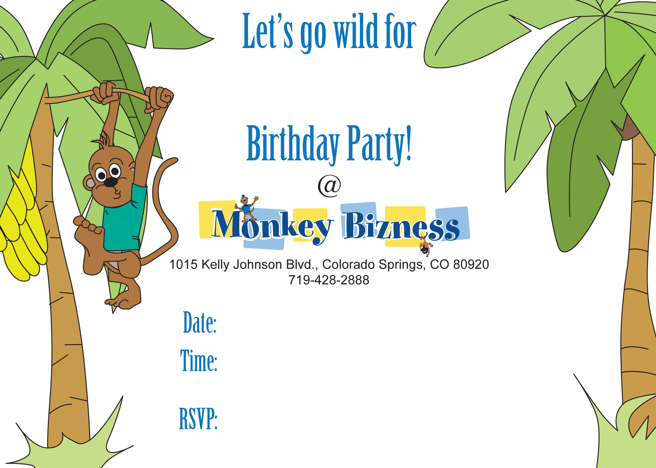 Birthday Invitations | Little Monkey Bizness - Colorado Springs